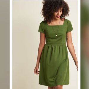 ModCloth Textured A-Line Dress  in Clover 🍀